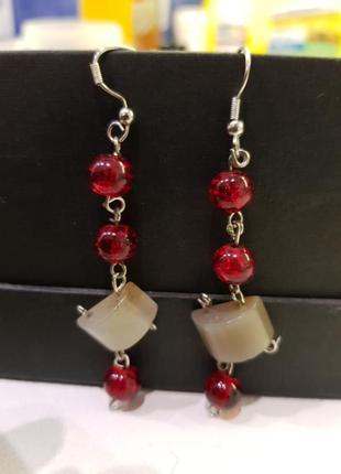 Оригинальные авторские сережки с натуральными камнями hand made