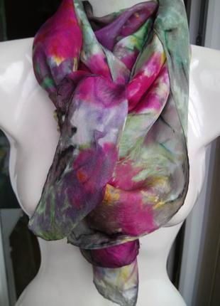 Потрясающий лёгкий шарфик шёлк 100% шарф платок повязка на голову