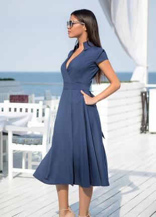 Платье на запах темно-синее