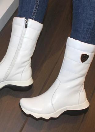 Кожаные зимние женские белые спортивные сапоги ботинки натурал...