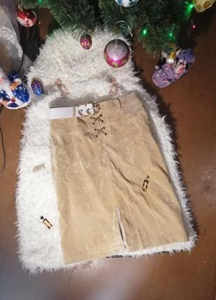 Замшевая юбка со шнуровкой/ замшева спідниця від sasperilla