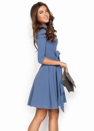 Платье расклешенное светло-синее