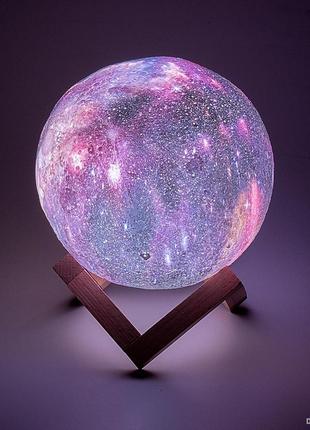 Дизайнерская, яркая Сенсорная лампа ночник 3D Космос 18см.
