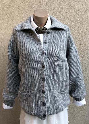 Теплый,вязаный жакет(пиджак),шерсть,увесистый кардиган,кофта,э...
