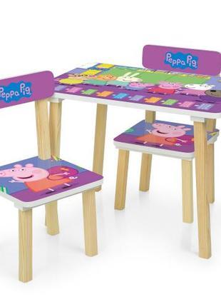"""Детский столик """"Свинка Пеппа"""" 501-80 cо  стульчиками"""