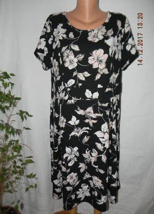 Фактурное платье с принтом цветы большого размера