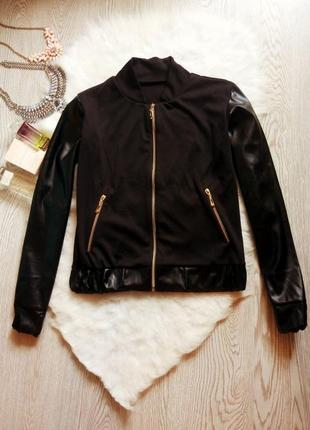 Черная куртка бомбер на молнии кожаными рукавами карманами без...