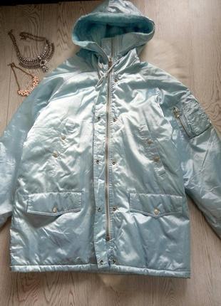 Длинная голубая бирюзовая куртка еврозима деми мех внутри бата...