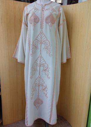 Длинное платье рубашка с вышивкой / абая / галабея / джеллаба