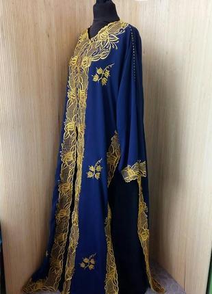 Длинное платье двойка с вышивкой /абая / джаллаба