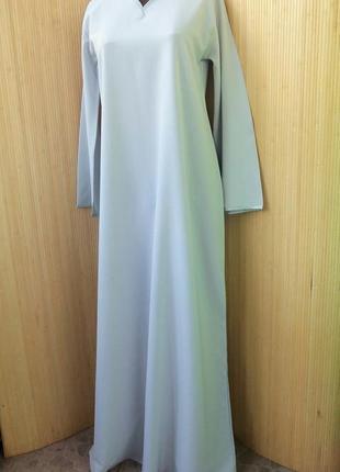 Серо голубое платье рубашка / абая ml