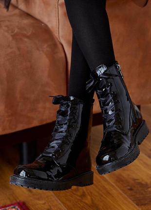 Ботинки детские лаковые классические стильные модные, натураль...
