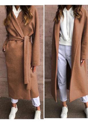 Пальто кашемировое длинное на запах  с поясом длинное 3 цветах