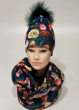 Шапка и шарф снуд бренд Ruzhinska