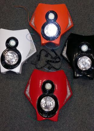 Обтекатель КТМ морда фара на мотоцикл повороты led оптика кросс