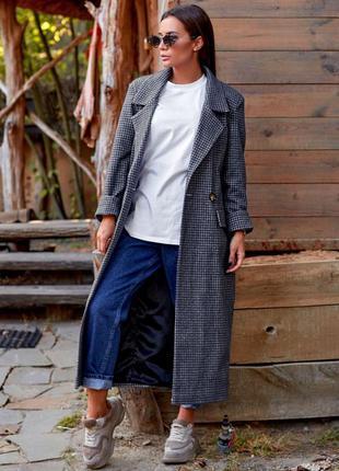 Пальто женское серое в клетку, трендовое модное, осеннее, полу...