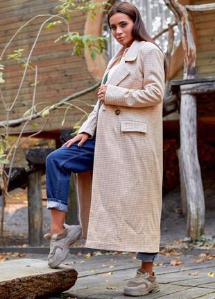 Пальто женское бежевое в клетку, трендовое модное, осеннее, по...