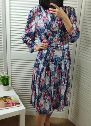 Платье-миди плиссе в цветочный принт debenhams, p-p uk 16/l-xl