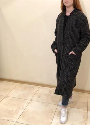 Пальто бойфренд темно-серое paquito, италия