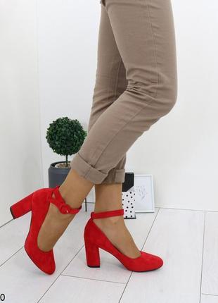 Красные замшевые туфли на каблуке,замшевые туфли с ремешками к...