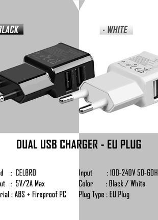 Адаптер зарядки 5V, 2A. 2 USB