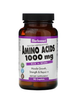 Аминокислоты, 1000 мг, BCAA, Bluebonnet Nutrition, 90 таблеток