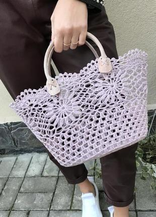 Романтическая,вязаная,ажурная сумка,корзина,ручки кожа,ручной ...