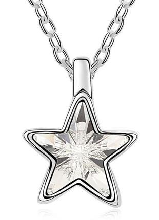 🏵ювелирная нарядная подвеска на цепи кулон с кристаллом звезда...