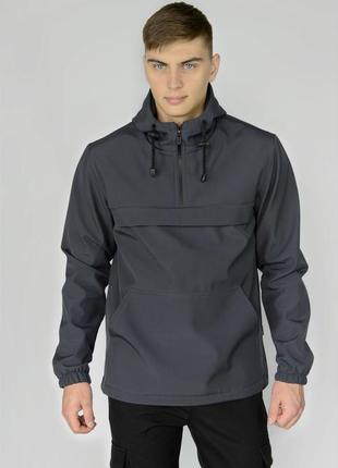 Куртка анорак мужская осенняя серая softshell walkman демисезо...