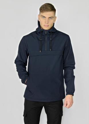 Куртка анорак мужская осенняя синяя softshell walkman демисезо...