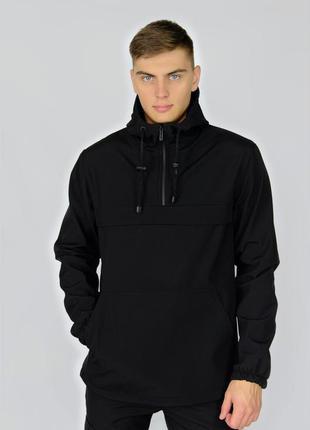 Куртка анорак мужская осенняя черная softshell walkman демисез...