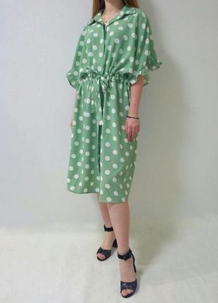 Платье в горох с воланами мятного цвета италия