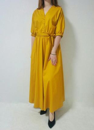 Платье под пояс желтого цвета италия