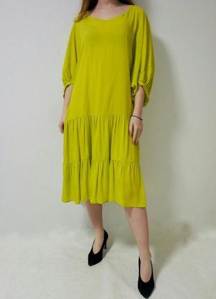 Платье ярусное лимонного цвета donatellaviaroma, италия