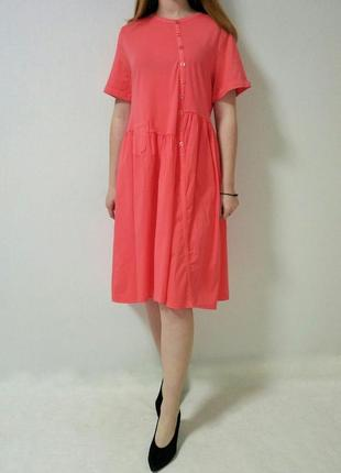 Платье кораллового цвета с кармашком италия