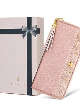 Кошелек клатч кожаный женский foxer в подарочной коробке (розо...