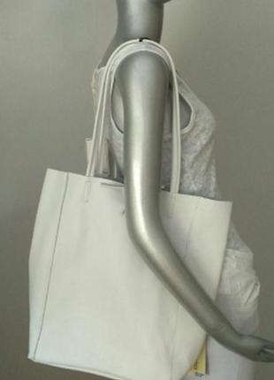 Сумка-мешок, белого цвета, натуральная кожа