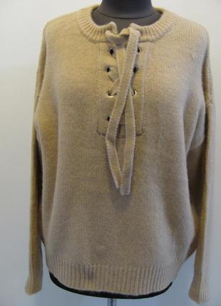 Зимний молодежный свитер с завязками, пряжа очень мягкая и теп...