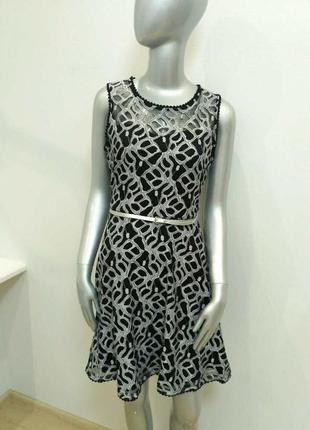 Платье черно-белое кружево франция jus d`orange