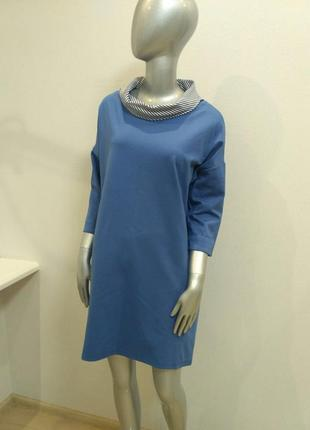Платье голубого цвета воротник в полосочку италия