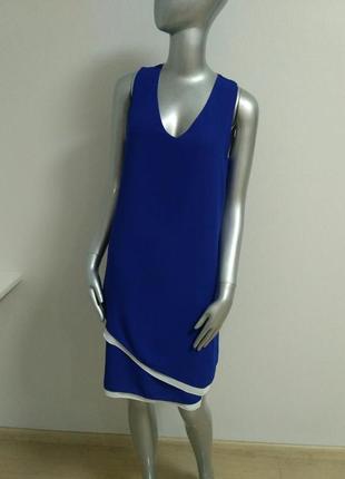 Платье синее с белой отделкой