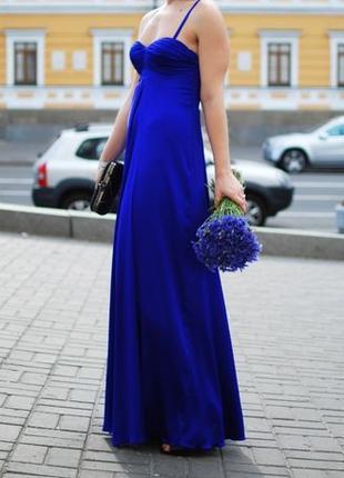 Платье шелковое выпускное вечернее ручная работа электрик синее