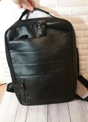 Мужской портфель рюкзак кожаный шкіряний чоловічий чорний сумк...