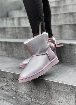 Ugg bailey bow pink! женские замшевые зимние угги/ сапоги/ бот...