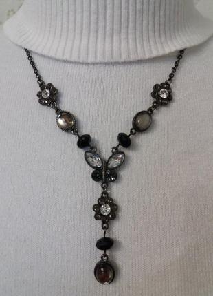 Колье подвеска бусы ожерелье бабочка с камнями