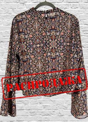 Блуза с расклешенными рукавами, шифоновая блузка черная с узором