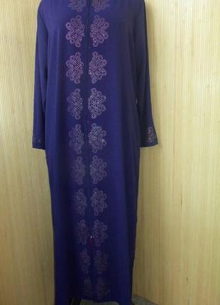 Длинное платье халат на молнии / для кормящих / абая