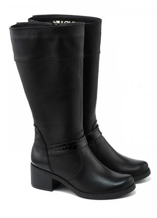 Кожаные женские черные сапоги с лаковыми вставками натуральная...