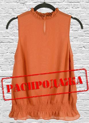Блуза классическая шифоновая терракотового цвета