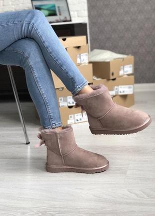 Шикарные розовые женские ботинки ugg mini bailey bow ii grey